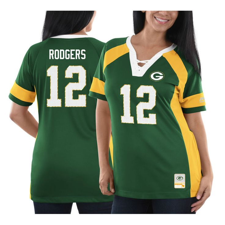 Aaron Rodgers Green Bay Packers Majestic Women's Draft Him Name & Number Fashion V-Neck T-Shirt - Green