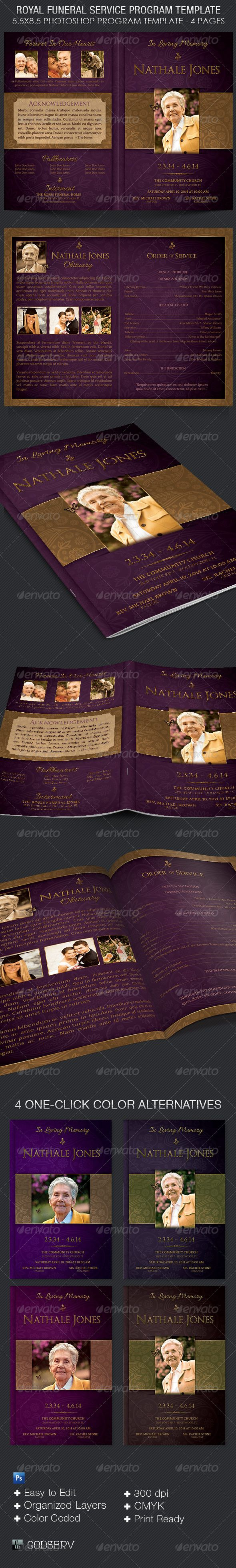 "Royal Funeral Service Program Template - $6.00 The Royal Funeral Service Program Template is for a modern commemorative or home going service. It's gold decals and text style laid over a deep purple background will honor and dignify your loved ones.  This template is easy to edit which will speed up your production schedule. All you need to do is, ""Edit, Save, Print"""