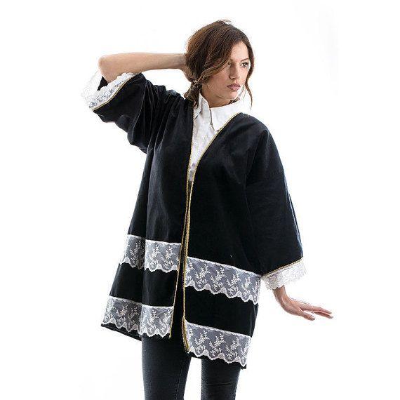 Velvety Manto with Lace, dark gray coat, darn grey coat, blue coat