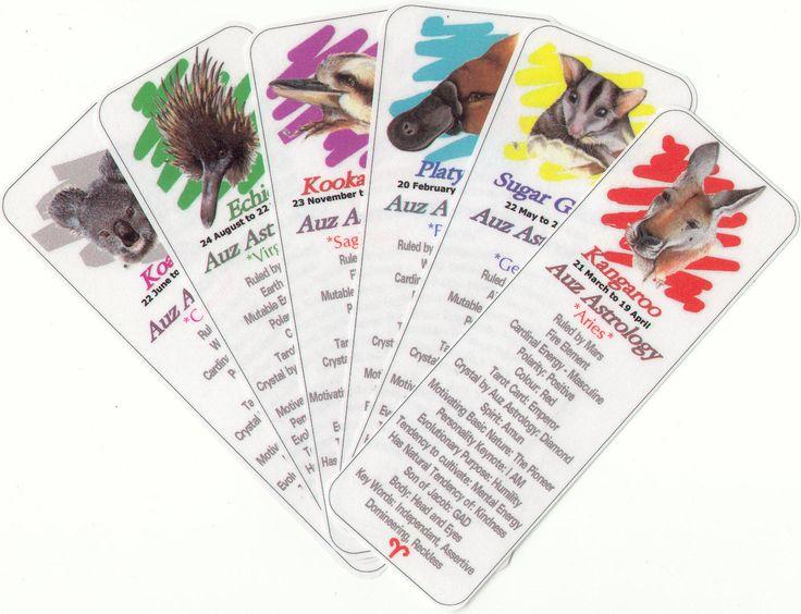 Auz Astrology - Australian Animal Zodiac Bookmarks by Ann Williams-Fitzgerald. http://www.innerwisdom.com.au/innerwisdom/index.html