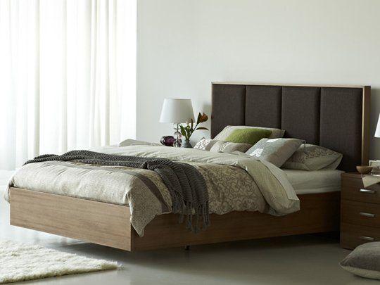 Bedroom design floating bed frame ornament white drapery for Floating bed frame