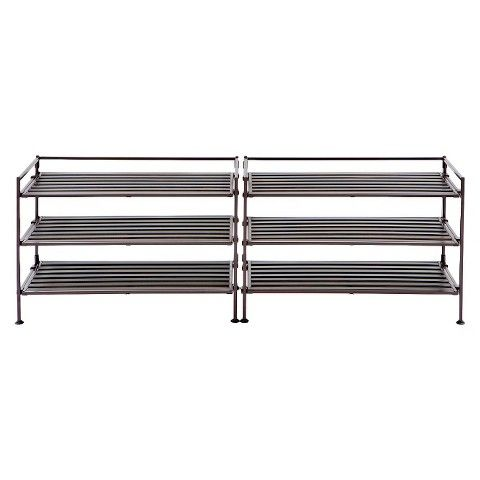 Seville 3-Tier Resin Wood Composite Shoe Rack - Black (2-Pack)