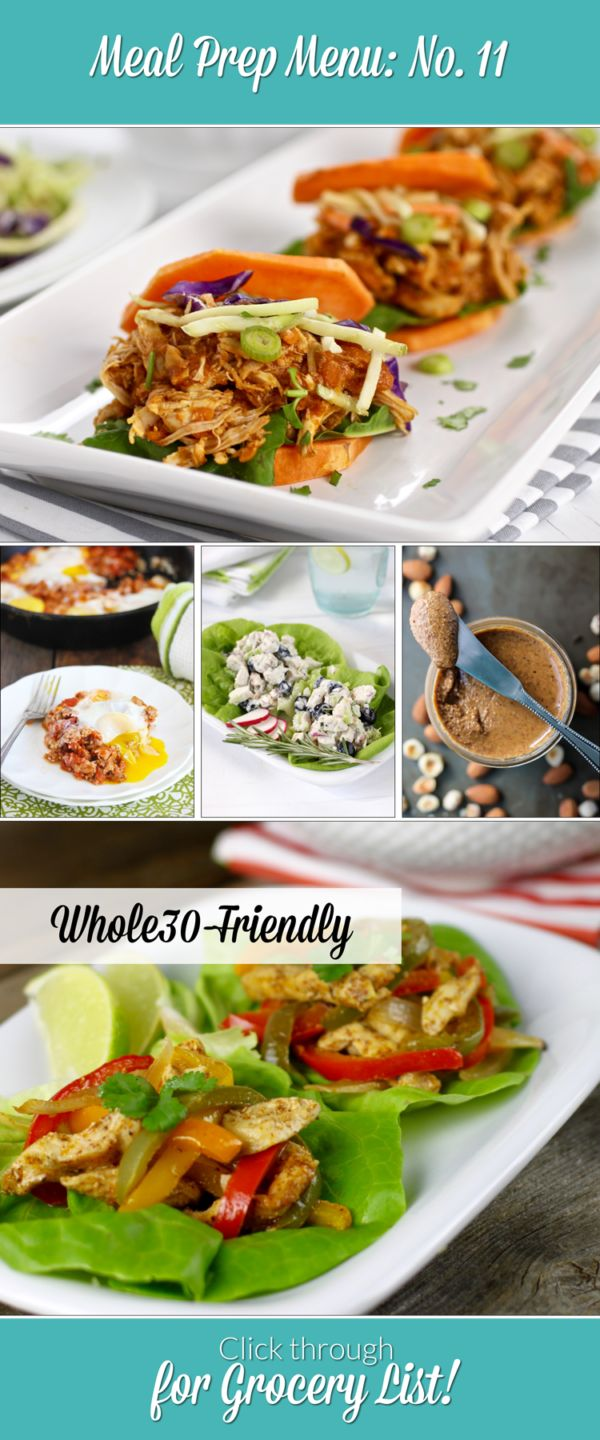 Whole30-friendly Weekly Meal Prep Menu. Includes 5 recipes and done-for-you grocery list | The Real Food Dietitians | http://therealfoodrds.com/weekly-meal-prep-menu-no-11/