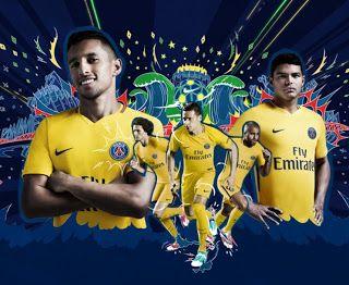 Blog Esportivo do Suíço: PSG lança uniforme reserva em homenagem ao Brasil
