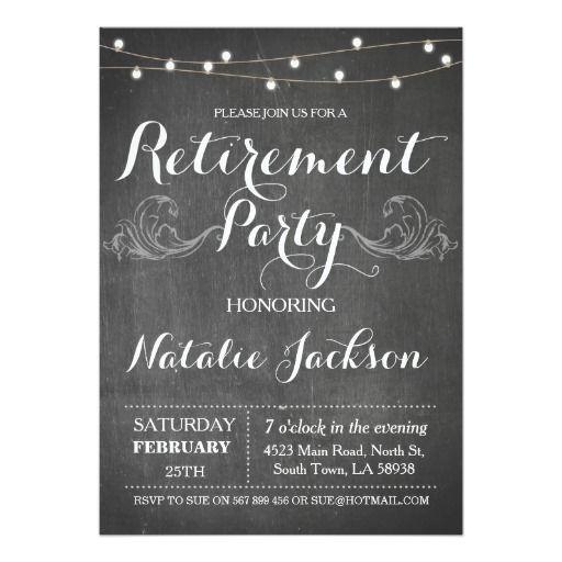 Retirement Invitation Chalk Board Retired Invite