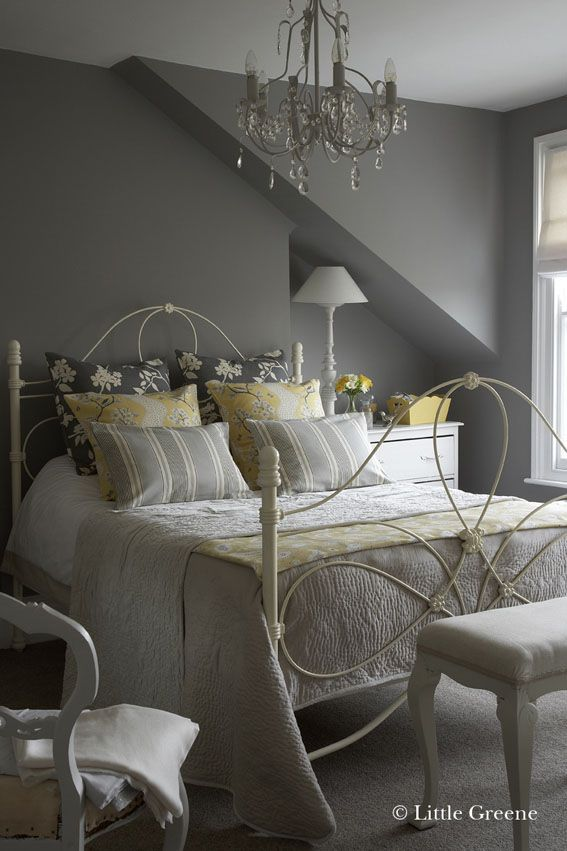 This is the perfect colour grey & the soft yellow accents are simply gorgeous! : from Little Greene paint - Lead Colour - Paints