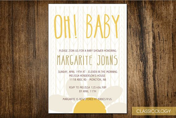 Daisy Baby Shower Invite , perfect for a spring baby shower!  $15.00