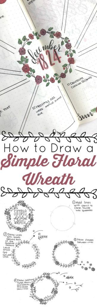 Learn how to draw a simple floral wreath with this step by step tutorial. Perfect for bullet journals, wedding invidtations, save the dates, etc. Plus printable guide.