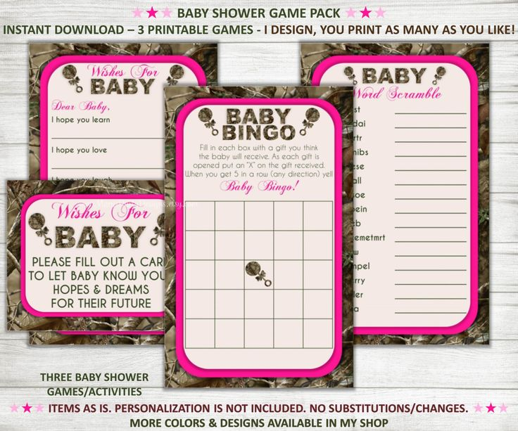 Camo Baby Shower Games - Wishes for Baby Bingo Word Scramble Pink Girl…