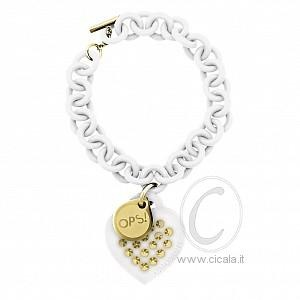 "The white & gold bracelet is perfect for an unconventional look for those ho love to be noticed and leave a mark. Its a mix of a punk and glamour design, with 19 steel studs, hand applied one by one on a silicone heart. This gives the bracelet an unique touch. An ""aggressive"" but wished return with the Ops Studs collection. €48,00"