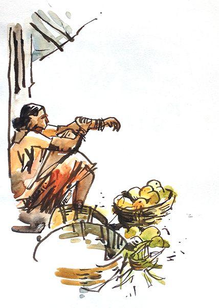 Urban Sketchers: Sketching in Goa: Part 3: The Best-est mango in the world!