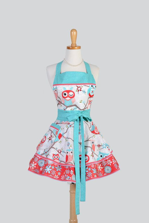 Ruffled Retro Apron . Woman Apron Ruffled Apron Cute Owls Teal and Red  Cute Sassy Vintage Apron Full Kitchen Apron Personalize or Monogram