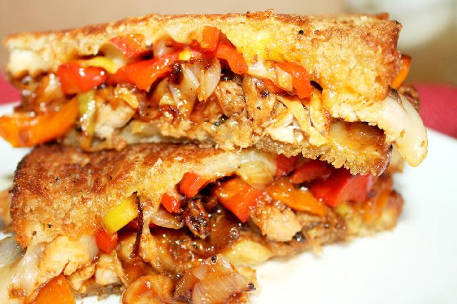 Creole Contessa: Smoked Chicken Grilled Cheese with Caramelized Shallots and Peppers
