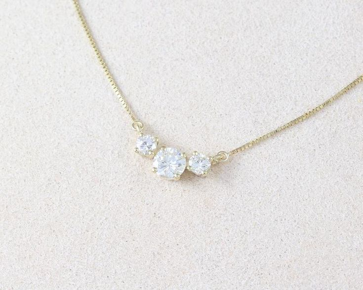 Three Stone Diamond 0.70 CT Necklace, 3 Stone Necklace, Diamond 14k Classic Trio Diamond Gold Necklace, Past Present Future Gift For Her