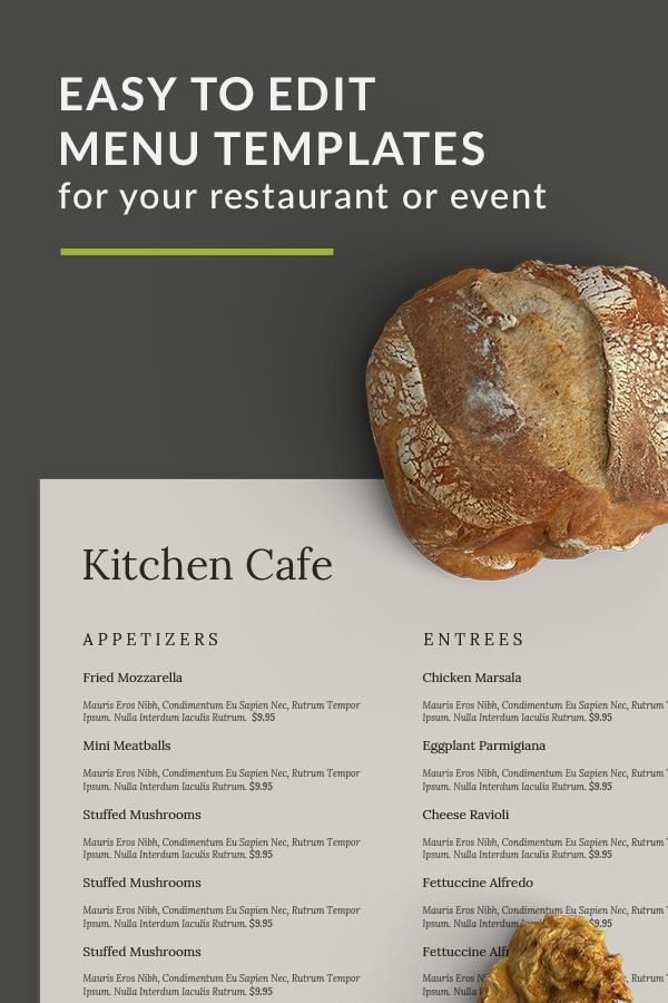 Easy to edit restaurant and event menus Instant download menu