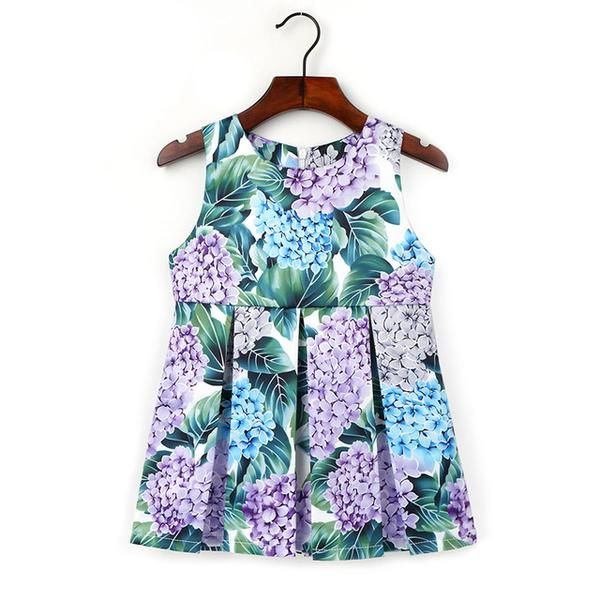 2-6Y Children Flowers Pattern O-neck Dress Fashion Knee-Length A-Line Dresses Kids Bohemian Cotton Clothing Girls Party Clothes