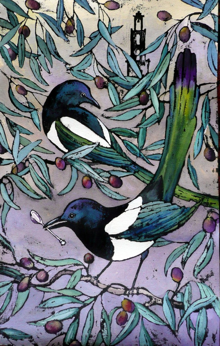 In European folklore, magpies are birds of bad omen because of their aggressiveness toward smaller songbirds and their tendency to steal shining coins and jewels or anything small and shines. One folk story says the magpie was the one bird that refused to sing and comfort Christ when he was crucified. Thieving Magpie - Sue Allen
