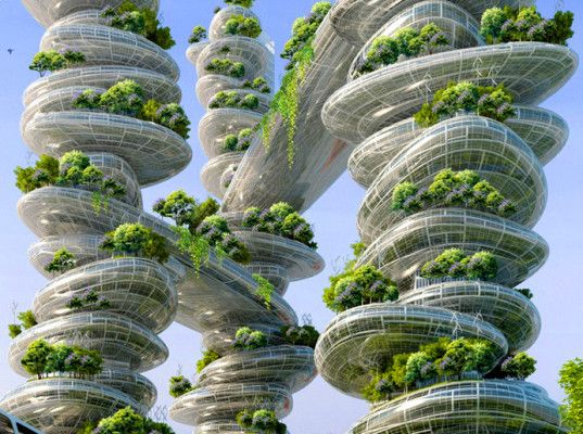 Vincent Callebaut's Paris Smart City plan includes a Mountain Tower and other green skyscrapers inspired by nature that fit within the existing structures of the city.