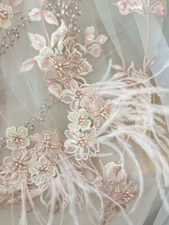 Luxury 3d Beaded Applique Fabric With Ostrich Feather Haute Etsy With Images Beaded Applique Etsy Fabric Applique Fabric