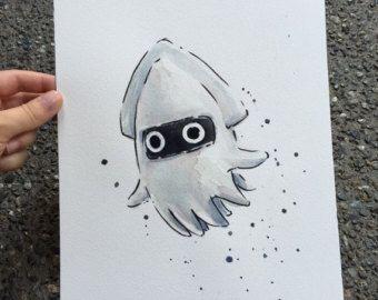 Yoshi ORIGINAL AQUARELLE Gemälde Geek-Kunst von OlechkaDesign