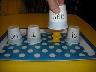 Use as a Sight Words Transition- Kindergarten Rocks! Name the word on cup you think the bear is under?