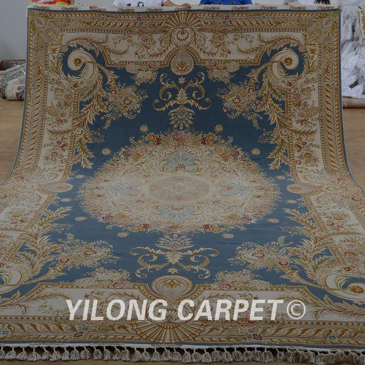 Yilong 8.3'x11.5′ Top turkish wool silk carpet hand knotted blue exquisite persian wool rug (1901)