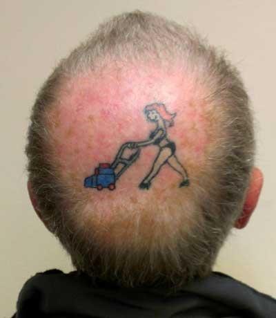 Check out british man 39 s tattoo on bald spot kiss fm for Tattoo bald spot