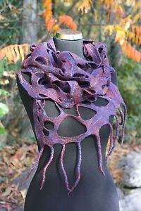 Unique handmade felted multicolored wool scarf