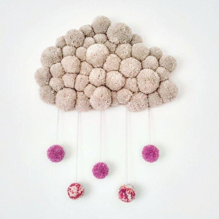 Pompom felhő! Fonal! Gyerekszoba, babaszoba fali dekoráció!  Pompom cloud! Baby room decor! Kid room wall decor!