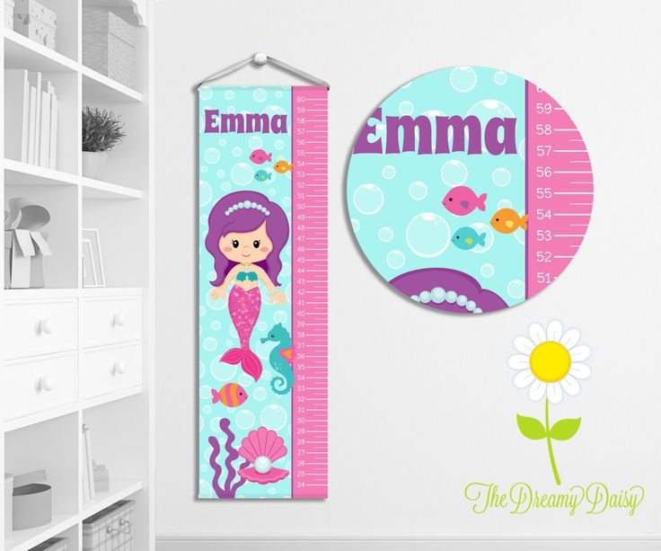 Personalized Growth Chart for Kids - Custom Girls' Mermaid Growth Chart w/ Name - Hanging Wall Height Chart - Mermaid Kids' Room Decor by TheDreamyDaisy on Etsy https://www.etsy.com/listing/499496164/personalized-growth-chart-for-kids