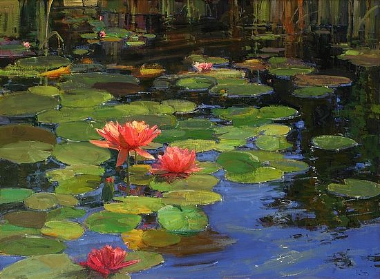 Lilies on Water by Kathryn Stats - Greenhouse Fine Art