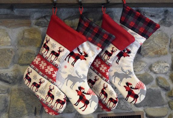 Plaid Moose Christmas Stocking/ Red and Black Flannel by LivelyOak