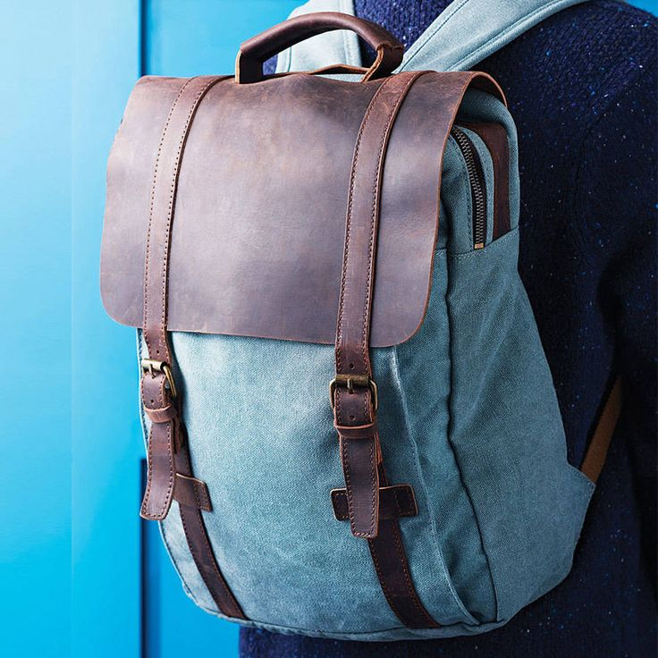 Canvas And Leather Foldover Backpack