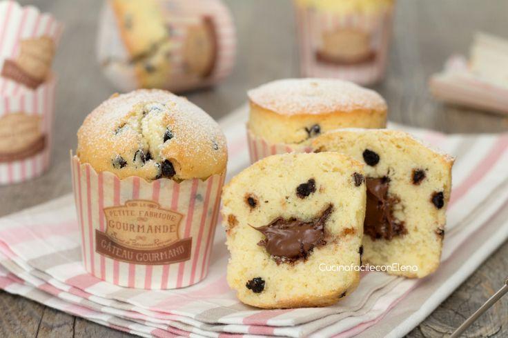 muffin con gocce di cioccolato e nutella 2