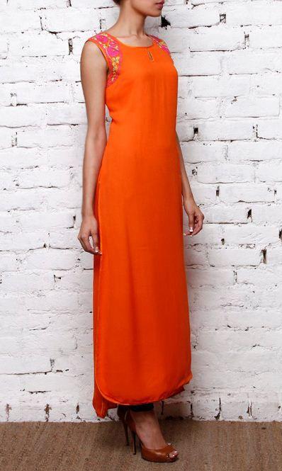 Orange long georgette #kurta with sleeveless and long back hem