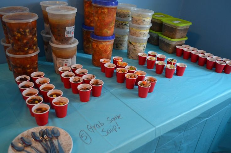 "Host a Soup Swap Party...  Make a fun night for you and your friends while stocking up on a variety of soups that you can freeze and share when you need to.    ""Everyone brought four 1-quart containers of soup for swapping and then some extra to sample."""