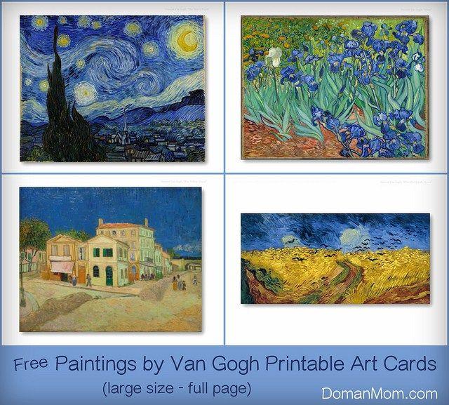 Van Gogh Paintings Printable Flash Cards Set 1 Printable Art Cards Art Card Art