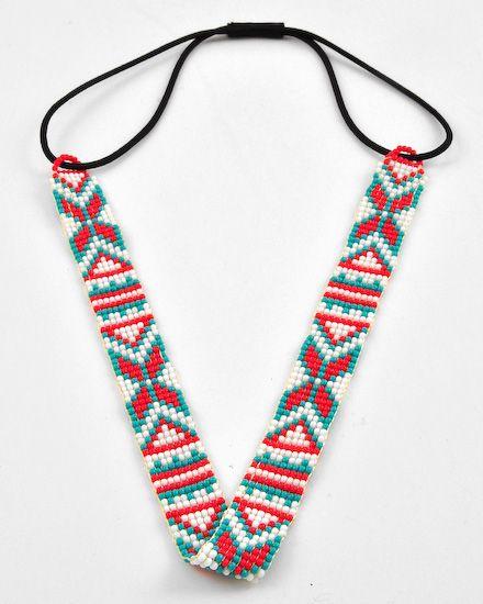 Red & Turquoise Seed Beads / Black Elastic / Lead&nickel Compliant / Chevron / Headband / Hair Accessory