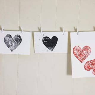 We've been exploring styrofoam printing in the studio lately... This works with any shape, season, or holiday (and we've done it with many over the years!), but I do think the hearts look especially nice.