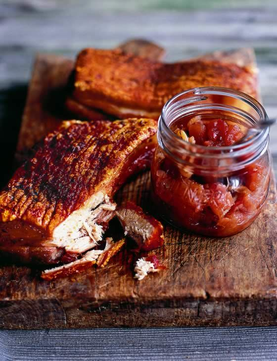 Roast pork belly with apple, sour cherry and fennel chutney.