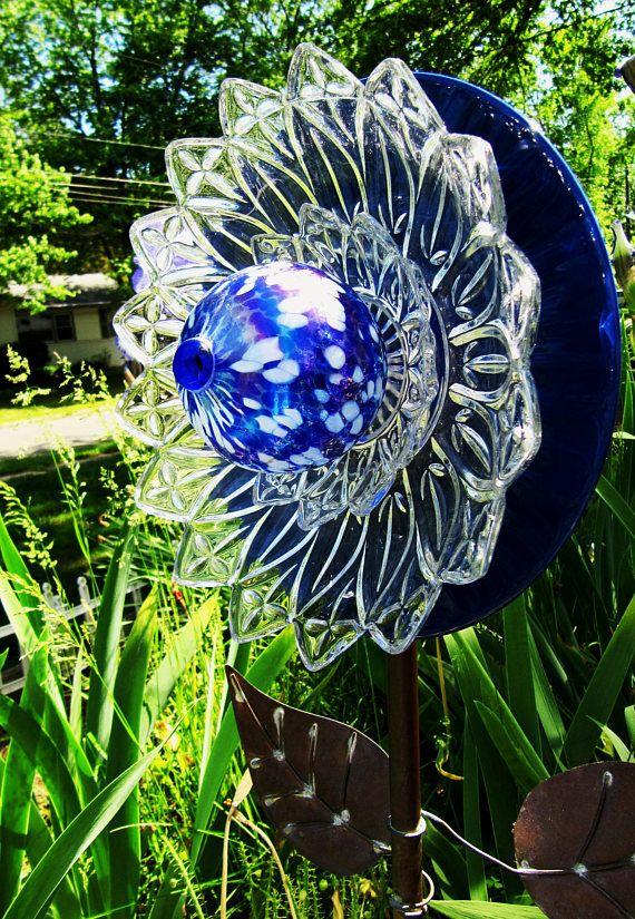 glass art garden gift glass plate flower yard art home