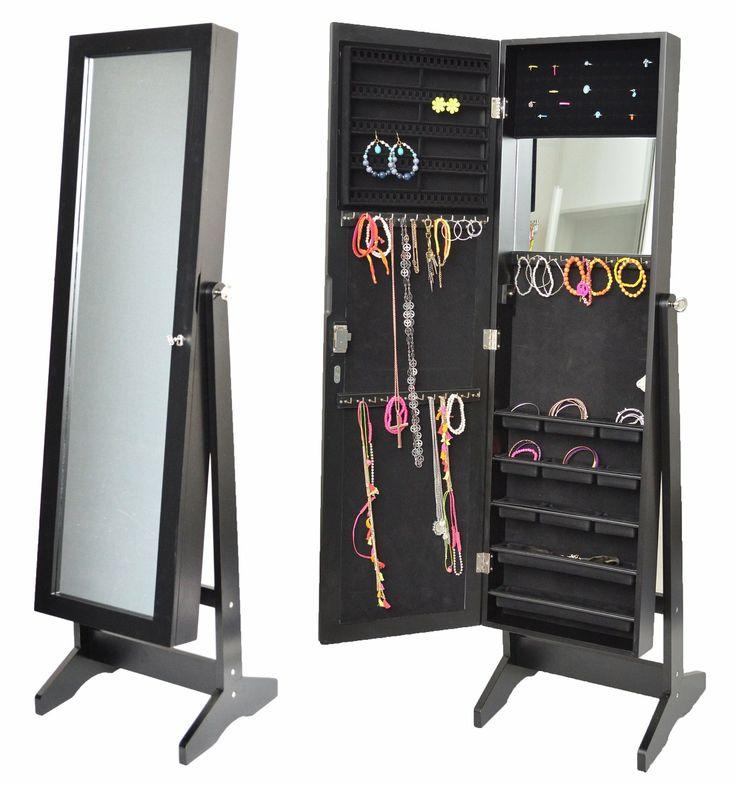 armoire bijoux avec miroir 145 cm noir amazonfr cuisine u0026 maison