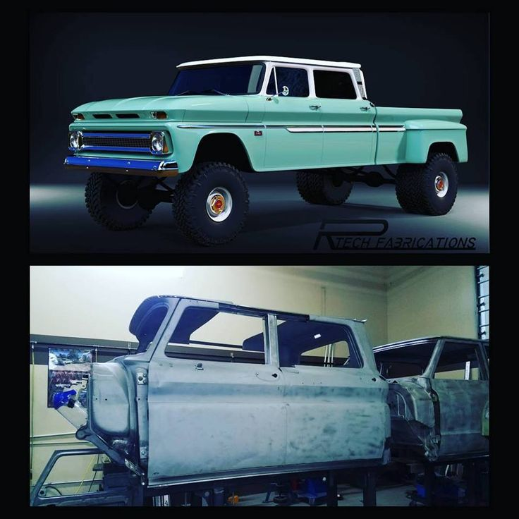1966 Chevy crew cab in production. One of several builds here at Rtech Fabrications
