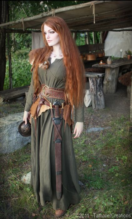 an actually historically correct Celtic outfit, minus the sword. Well, it was acceptable in Celtic societies for women to fight in battle, so I guess it is fine.
