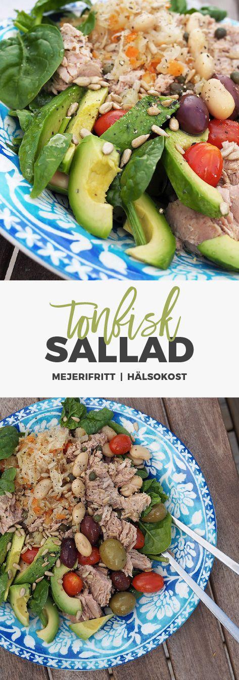 Recept: Matig, mejerifri tonfisksallad med avokado, oliver och bönor.