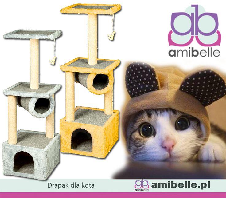 💗🐱 Do drapania, skakania i wylegiwania się po obiedzie. Najlepszy do wszystkiego co koty lubią najbardziej. 😃😻 Drapak z legowiskiem i budką. Znajdziecie go na www.amibelle.pl #dlakota #drapak #domekdlakota #zabawkidlazwierząt