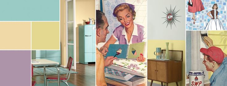 The exuberant post war boom of the 1950s was a mix of styles with mid-century modern and Scandinavian influences making the most impact. Pastels are the norm.