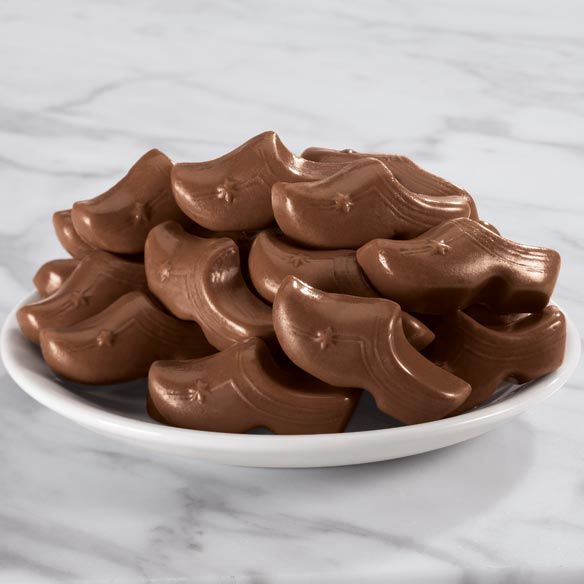 We took some rich & creamy milk Dutch chocolate and shaped them like the traditional Dutch clog. Why? Well, they are shoes so you have to eat them as a pair, right? That is what we are going with at least.
