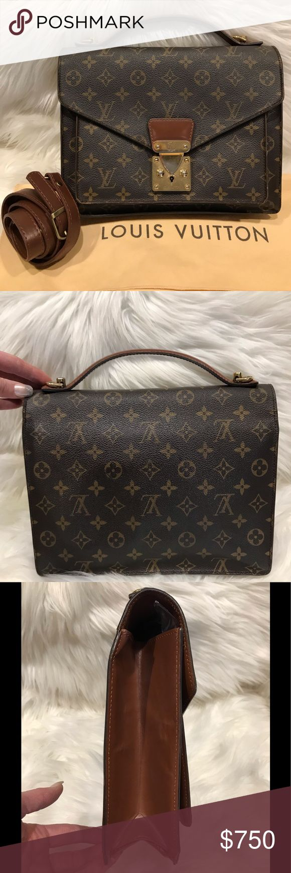 Authentic Louis Vuitton Monceau Handbag #7.8F Used – shows signs of use & wear but overall still in excellent condition. Exterior canvas & exterior le…