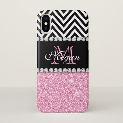 Custom Pink Glitter Black Chevron Monogram iPhone X Case - girly gifts girls gift ideas unique special